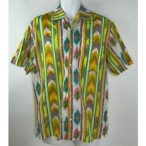 Vintage Graham Kandiah Aztec Retro Hippy Button M
